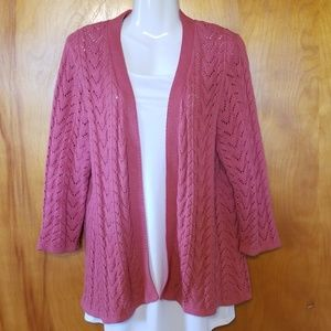 Pink Sweater Cardigan,Croft & Barrow, L,Open Front